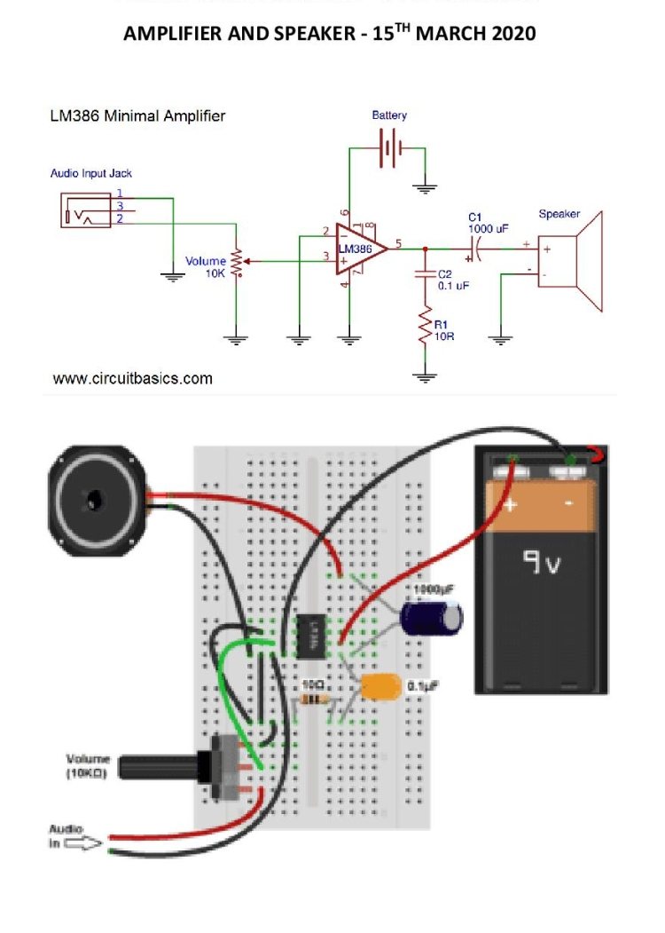 Schematic for amplifier and Speaker